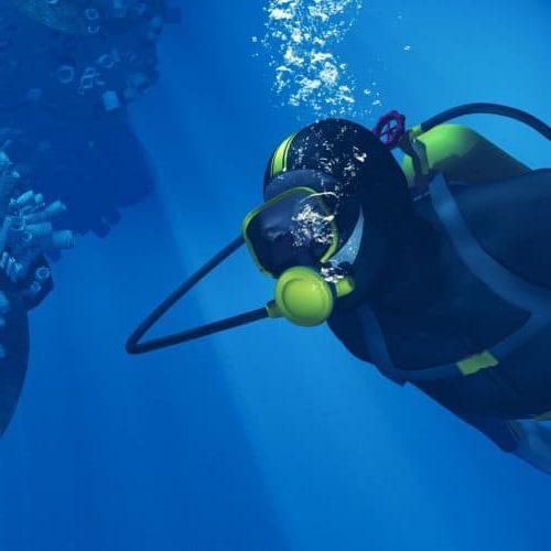 在珊瑚附近水下游泳的潜水员. 这是一个3d渲染图